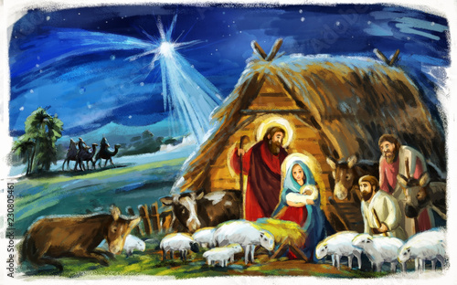 Fotografie, Obraz  religious illustration three kings - and holy family - traditional scene with sh