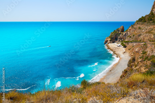 Photo Stands Turquoise Cala del Moraig beach Benitachell Alicante