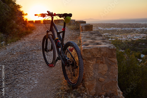 Aluminium Prints Bicycle Denia Alicante from Montgo with MTB