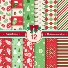 Merry Christmas Pattern Seamless Collection. Set Of 12 X-mas Winter Holiday Background . Endless Texture For Giftwrap, Wallpaper, Web Banner Background, Wrapping Paper And Fabric Patterns.