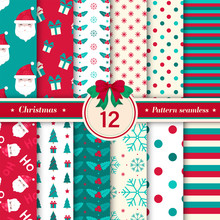 Merry Christmas Pattern Seamless Collection. Set Of 12 X-mas Winter Holiday Background In Red And Blue Colors. Vector Illustration.