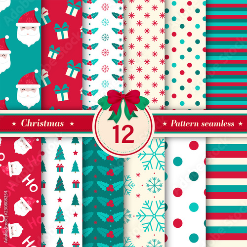 obraz PCV Merry Christmas pattern seamless collection. Set of 12 X-mas winter holiday background in red and blue colors. Vector illustration.