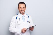 Portrait Of Half Turn Brunet Hair Bristle Pharmacist Man Look At