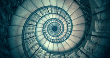 Endless Old Spiral Staircase. ...