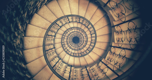 Cadres-photo bureau Spirale Endless old spiral staircase. 3D render