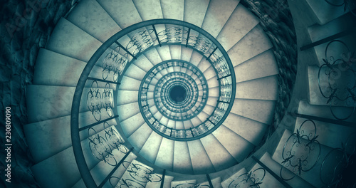 Canvas Print Endless old spiral staircase. 3D render