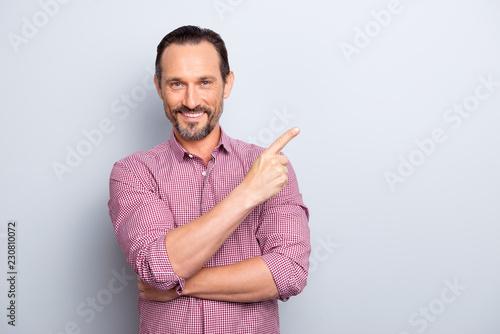 Fotografie, Obraz  Handsome cheerful glad attractive bristle brunet hair man in cas