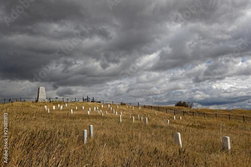 In de dag Inspirerende boodschap Little Bighorn Battlefield National Monument and cemetery