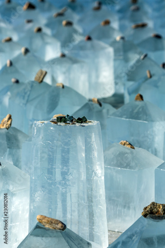 Ice crystals of the labyrinth on lake Baikal. Russia.