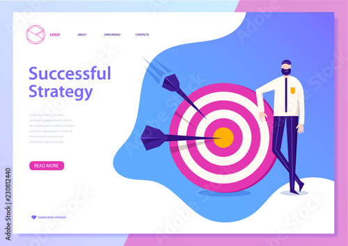 Photo  Vector successful busines strategy concept