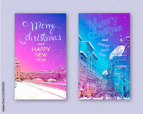 merry christmas and new year card design ponte