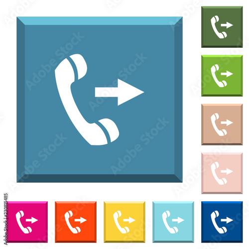 Fotografia, Obraz  Outgoing phone call white icons on edged square buttons