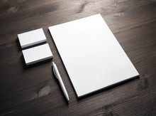 Blank Corporate Stationery Set On Wooden Background. Template For Branding ID.