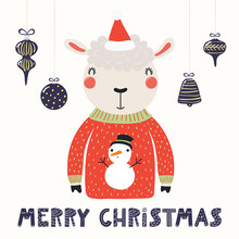 Hand Drawn Vector Illustration Of A Cute Funny Sheep In A Santa Hat, Sweater, With Text Merry Christmas. Isolated Objects On White Background. Scandinavian Style Flat Design. Concept For Card, Invite.