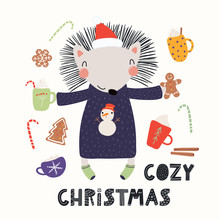 Hand Drawn Vector Illustration Of A Cute Funny Hedgehog In A Santa Hat, Sweater, With Cocoa, Sweets, Text Cozy Christmas. Isolated Objects On White. Scandinavian Style Flat Design. Concept For Card.