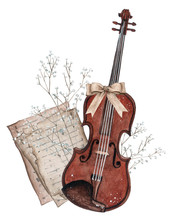 Watercolor Violin Illustration. Strings Musical Instruments In Classic Style