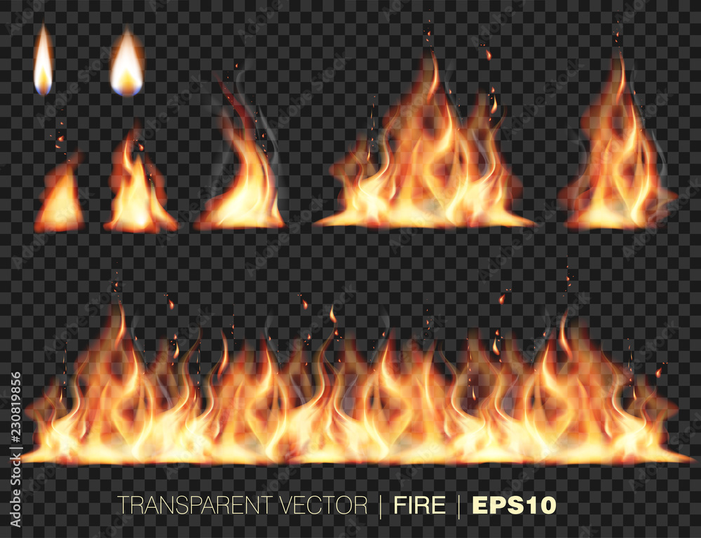 Fototapety, obrazy: Collection of realistic fire flames