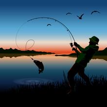 Fisherman. Fisherman Catches Fish On A Fishing Rod