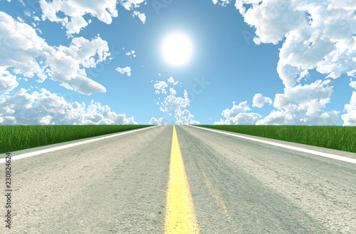 Fotobehang Zwavel geel Asphalt road in sunny day,3d rendering