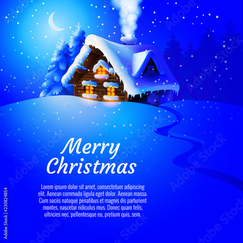 Foto op Canvas Donkerblauw Forest landscape with winter house. Vector Illustration