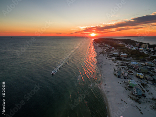 Beautiful Ocean Sunset - Drone/Aerial Photograph of Gulf Shores/Fort Morgan Alabama Wallpaper Mural