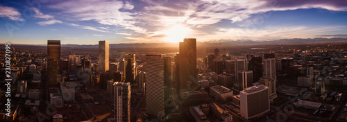Fotobehang Zwart Aerial/Drone photo of the capital city of Denver Colorado at sunset