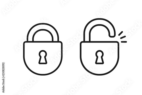 Fotografía  Black isolated outline icon of locked and unlocked lock on white background
