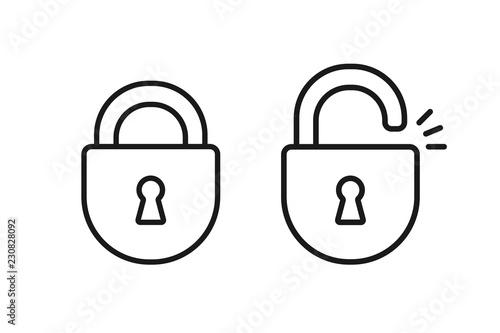 Fototapeta Black isolated outline icon of locked and unlocked lock on white background. Set of Line Icon of padlock. obraz