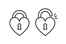 Black Isolated Outline Icon Of Locked And Unlocked Heart Shape Lock On White Background. Set Of Line Icon Of Heart Shape Lock.
