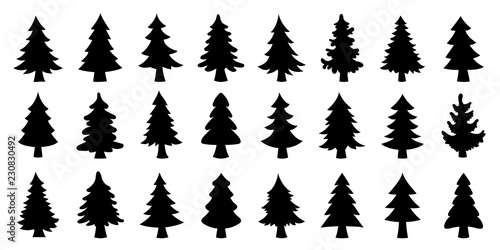 various christmas tree silhouette