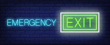Emergency Exit Neon Sign. Glowing Inscription On Dark Blue Brick Background. Can Be Used For Buildings, Exits, Shops, Cinemas, Airports