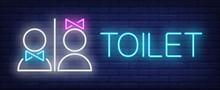 Toilet Neon Sign. Glowing Neon...