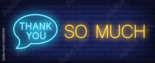 Thank you neon sign. Glowing neon inscription in speech bubble on dark blue brick background. Can be used for online chats, night advertisement, shops