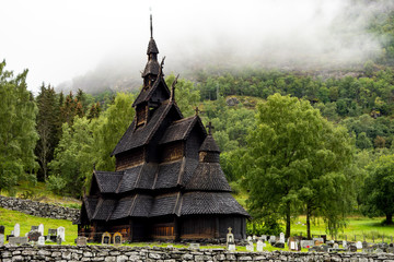 Fototapeta Borgund stave church (stavkyrkje) in Norway in cloudy weather