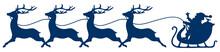 Christmas Sleigh Santa & 4 Running Reindeers Dark Blue