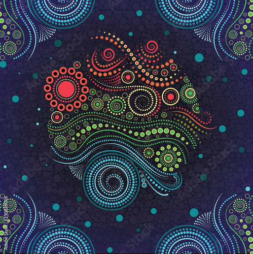 Aboriginal dot art vector background. Canvas Print