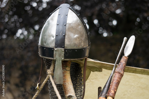 Norman helmet and spears. Canvas Print