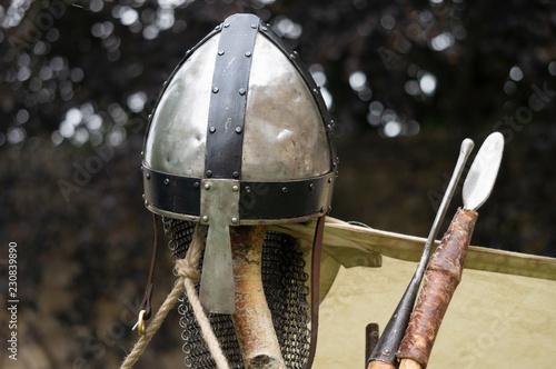 Norman helmet and spears. Tapéta, Fotótapéta