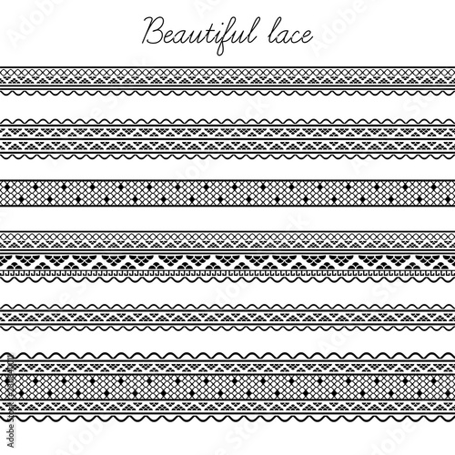 Valokuva  Set of lace ribbons. Decorative seamless borders, dividers