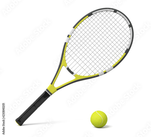 Canvas Print 3d rendering a single tennis racquet lying with a yellow ball on white background