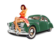 Pin-up Girl And Retro Car Isol...