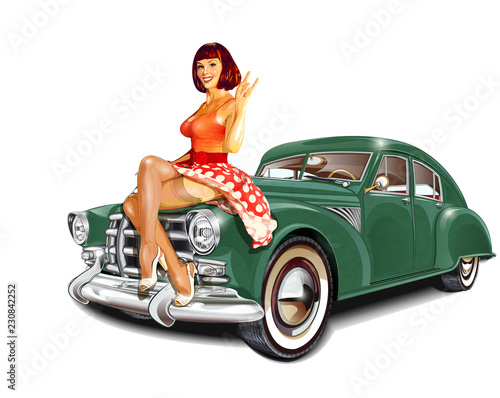 Photo Pin-up girl and retro car isolated on white background