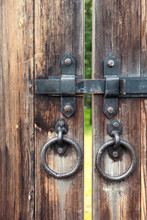 Closeup Of A Metal Latch On A Wooden Gate Olde-worlde