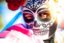 Woman Wearing Skull Mask And P...