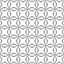 Geometric Pattern With Crisscrossing Undulating Black Lines With Rhombuses