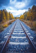 Autumn Railway View From Sotkamo, Finland.