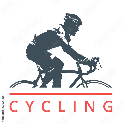 Fotomural  Cycling logo, cyclist on road bike, side view, isolated vector silhouette