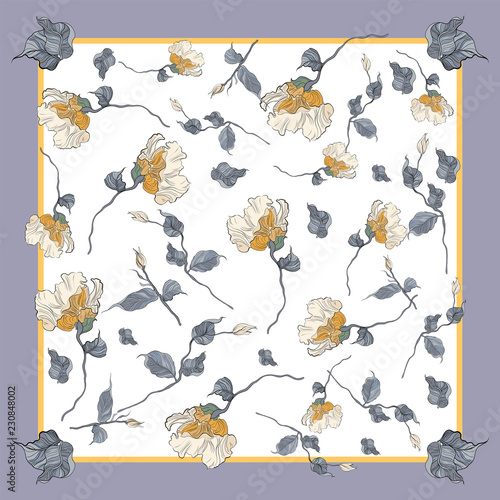 Fotomural Silk scarf with blooming eustonma