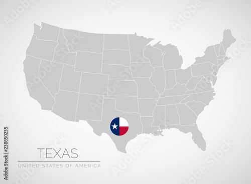 Map Of United States Of America With The Identication Of Texas Map