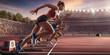 Leinwanddruck Bild - Female athletes sprinting. Three women in sport clothes run at the running track in professional stadium